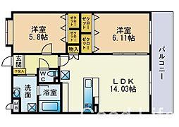 福岡県福岡市西区石丸2丁目の賃貸マンションの間取り