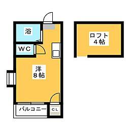 リュミエール箱崎宮前A[2階]の間取り