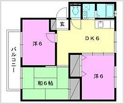 サンビレッジ南斎院[C202号室]の間取り