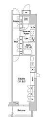 JR山手線 代々木駅 徒歩5分の賃貸マンション 13階ワンルームの間取り