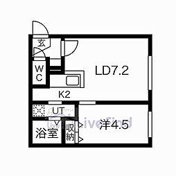 札幌市営東西線 菊水駅 徒歩6分の賃貸マンション 3階1LDKの間取り