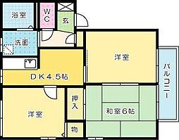 福岡県北九州市小倉南区徳吉東1丁目の賃貸アパートの間取り