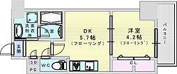 サンセール吹田 9階1DKの間取り