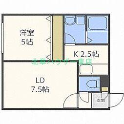 北海道札幌市東区北二十七条東18丁目の賃貸アパートの間取り