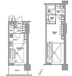 都営三田線 白金高輪駅 徒歩1分の賃貸マンション 8階1LDKの間取り