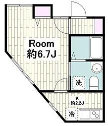 東急東横線 菊名駅 徒歩7分の賃貸アパート 2階1Kの間取り