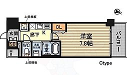プランドール新大阪NORTHレジデンス 2階1Kの間取り