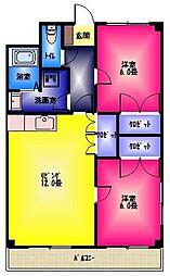 ユニヴェールKODAMA[3階]の間取り