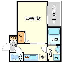 エスリード新大阪グランゲートノース 2階1Kの間取り
