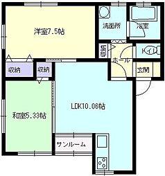 秋田県大仙市戸地谷字川前の賃貸アパートの間取り