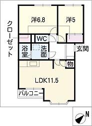 エレガンス新栄[2階]の間取り