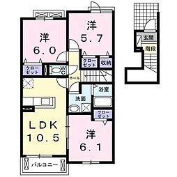 ローズガーデンN・T II[202号室]の間取り