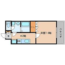 近鉄大阪線 五位堂駅 徒歩17分の賃貸マンション 2階1Kの間取り
