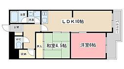 ビューハイツ京都山科[221号室]の間取り
