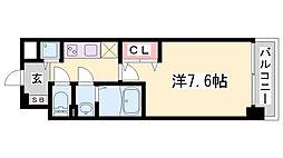 Luxe神戸WEST 7階1Kの間取り