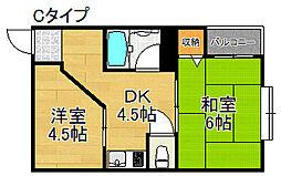 フォンタルI[4階]の間取り