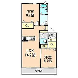シャーメゾン原田元町 1階2LDKの間取り