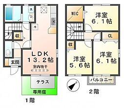 [テラスハウス] 兵庫県神戸市垂水区向陽2丁目 の賃貸【兵庫県 / 神戸市垂水区】の間取り