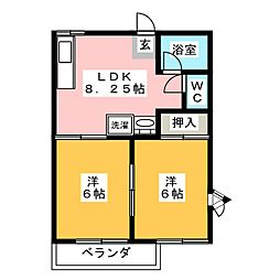 朝倉ハイツ[2階]の間取り