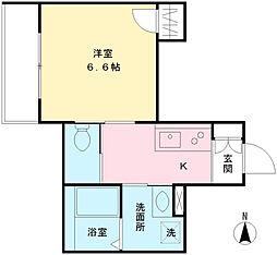 フィシオ神泉 1階1Kの間取り