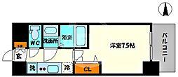 プレサンス堺筋本町センティス 7階1Kの間取り