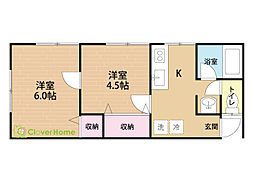 神奈川県大和市南林間6丁目の賃貸アパートの間取り