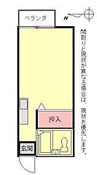 プレジールおりつ[203号室]の間取り