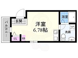 KYOTO HOUSE西寺 3階ワンルームの間取り