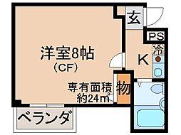 京都府京都市伏見区雁金町の賃貸マンションの間取り