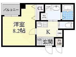 南海高野線 堺東駅 徒歩14分の賃貸マンション 3階1Kの間取り