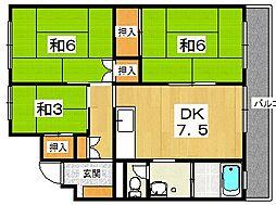 枚方ハイツ3号棟[2階]の間取り