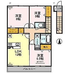 D-room西九条町3丁目[2階]の間取り