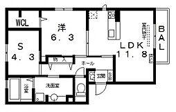 セクレール北本町B棟[305号室号室]の間取り