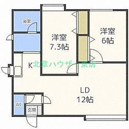 北海道札幌市東区伏古三条5丁目の賃貸アパートの間取り
