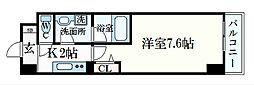 JR東海道・山陽本線 摂津本山駅 徒歩8分の賃貸マンション 6階1Kの間取り