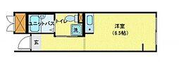 JR中央本線 東小金井駅 徒歩3分の賃貸マンション 1階ワンルームの間取り