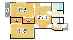 大阪府門真市岸和田1丁目の賃貸アパートの間取り