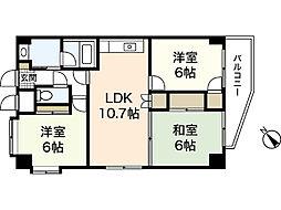 ラフィネ牛田本町 8階3LDKの間取り