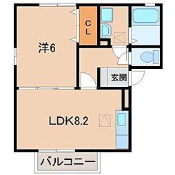 和歌山県和歌山市三葛の賃貸アパートの間取り