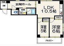 イーストガーデン 笹塚5分 広めの1LDKマンション[3階]の間取り