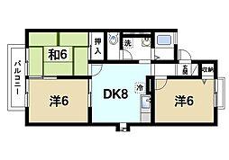 京都府木津川市梅美台1丁目の賃貸アパートの間取り