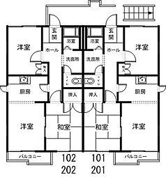 茨城県つくば市二の宮2丁目の賃貸アパートの間取り