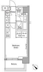 東京メトロ有楽町線 月島駅 徒歩1分の賃貸マンション 2階ワンルームの間取り