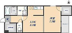 Fuji espace heureux 2階1LDKの間取り
