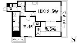 兵庫県川西市長尾町の賃貸マンションの間取り
