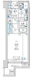 都営大江戸線 清澄白河駅 徒歩14分の賃貸マンション 6階1Kの間取り