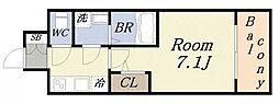 サムティ大阪リバーテラス 4階1Kの間取り