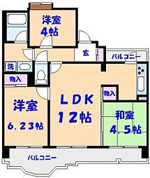 千葉県船橋市藤原3丁目の賃貸マンションの間取り