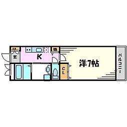 兵庫県西宮市川東町の賃貸アパートの間取り