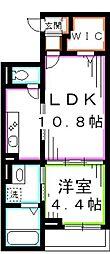 JR中央本線 吉祥寺駅 バス13分 医師会館下車 徒歩3分の賃貸マンション 2階1LDKの間取り